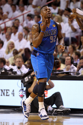 MIAMI, FL - JUNE 02:  DeShawn Stevenson #92 of the Dallas Mavericks reacts after making a three-pointer in the first quarter while taking on the Miami Heat in Game Two of the 2011 NBA Finals at American Airlines Arena on June 2, 2011 in Miami, Florida. NO