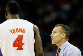 NEW ORLEANS, LA - MARCH 26:  Head coach Billy Donovan talks to Patric Young #4 of the Florida Gators during the second half of their game against the Butler Bulldogs in the Southeast regional final of the 2011 NCAA men's basketball tournament at New Orlea