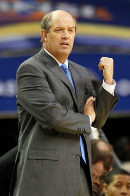 ATLANTA, GA - MARCH 10:  Head coach Kevin Stallings of the Vanderbilt Commodores reacts during their game against the Vanderbilt Commodores in the first round of the SEC Men's Basketball Tournament at the Georgia Dome on March 10, 2011 in Atlanta, Georgia