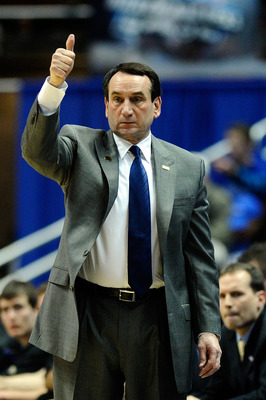 ANAHEIM, CA - MARCH 24:  Head coach Mike Krzyzewski of the Duke Blue Devils gestures from the sidelines during the west regional semifinal of the 2011 NCAA men's basketball tournament at the Honda Center on March 24, 2011 in Anaheim, California.  (Photo b