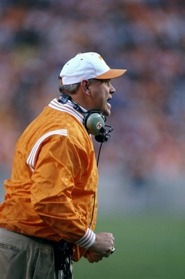21 Nov 1998:  Head coach Phillip Fullmer of the Tennessee Volunteers looks on during the game against the Kentucky Wildcats at the Neyland Stadium in Knoxville, Tennessee. The Volunteers defeated the Wildcats 59-21. Mandatory Credit: Scott Halleran  /Alls
