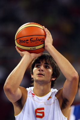BEIJING - AUGUST 10:  Ricky Rubio #6 of Spain shoots a free throw while taking on Greece during the day 2 preliminary game at the Beijing 2008 Olympic Games in the Beijing Olympic Basketball Gymnasium on August 10, 2008 in Beijing, China.  (Photo by Phil
