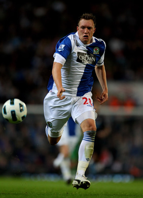 BLACKBURN, ENGLAND - APRIL 25:  Phil Jones of Blackburn Rovers in action during the Barclays Premier League match between Blackburn Rovers and Manchester City at Ewood Park on April 25, 2011 in Blackburn, England.  (Photo by Alex Livesey/Getty Images)