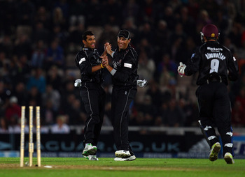 SOUTHAMPTON, ENGLAND - AUGUST 14:  Arul Suppiah of Somerset celebrates bowling out Jimmy Adams of Hampshire during the Friends Provident T20 Final between Hampshire Royals and Somerset at The Rose Bowl on August 14, 2010 in Southampton, England.  (Photo b
