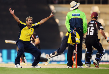 SOUTHAMPTON, ENGLAND - JUNE 01: Imran Tahir of Hampshire appeals to the umpire during the Friends Life T20 match between Hampshire and Somerset at The Rose Bowl on June 1, 2011 in Southampton, England. (Photo by Bryn Lennon/Getty Images)