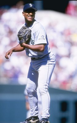 11 May 1997:  Pitcher Josias Manzanizo of the Seattle Mariners stands on the pitchers mound during a game against the Baltimore Orioles at Camden Yards in Baltimore, Maryland.  The Orioles won the game 9-5. Mandatory Credit: Doug Pensinger  /Allsport