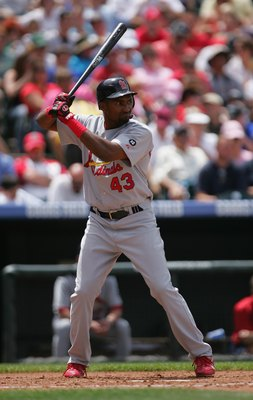 DENVER - MAY 28:  Juan Encarnacion #43 of the St. Louis Cardinals bats against the Colorado Rockies at Coors Field on May 28, 2007 in Denver, Colorado. The Rockies won 6-2. (Photo by Doug Pensinger/Getty Images)