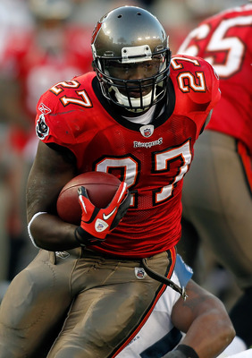 TAMPA, FL - DECEMBER 26: Running back LeGarrette Blount #27 of the Tampa Bay Buccaneers runs the ball against the Seattle Seahawks during the game at Raymond James Stadium on December 26, 2010 in Tampa, Florida. (Photo by J. Meric/Getty Images)
