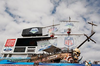 TAMPA, FL - FEBRUARY 01:  The scoreboard and giant pirate ship are seen in the endzone during Super Bowl XLIII on February 1, 2009 at Raymond James Stadium in Tampa, Florida.  (Photo by Al Bello/Getty Images)