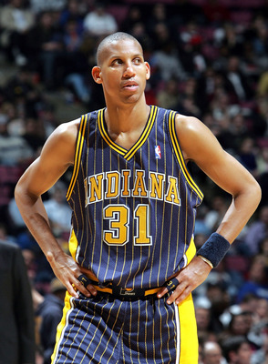 EAST RUTHERFORD, NJ - MARCH 22:  Reggie Miller #31 of the Indiana Pacers looks into the crowd during a time out during their game against the New Jersey Nets on March 22, 2005 at Continental Airlines Arena in East Rutherford, New Jersey. The Nets defeated