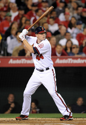ANAHEIM, CA - APRIL 22:  Mark Trumbo #44 of the Los Angeles Angels at bat against the Boston Red Sox at Angel Stadium on April 22, 2011 in Anaheim, California.  (Photo by Harry How/Getty Images)