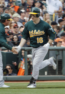 SAN FRANCISCO, CA - MAY 22:  Josh Willingham #16 of the Oakland A's rounds the bases on a home run against the San Francisco Giants in the sixth inning at AT&T Park on May 22, 2011 in San Francisco, California.  The Giants won 5-4 in 11 innings.  (Photo b