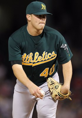 ARLINGTON, TX - MAY 11:  Pitcher Andrew Bailey #40 of the Oakland Athletics on May 11, 2010 at Rangers Ballpark in Arlington, Texas.  (Photo by Ronald Martinez/Getty Images)