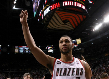 PORTLAND, OR - APRIL 23:  Brandon Roy #7 of the Portland Trail Blazers walks off the court after overcoming a 23 point deficit to defeat the Dallas Mavericks 84-82 in Game Four of the Western Conference Quarterfinals in the 2011 NBA Playoffs on April 23,