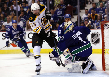 VANCOUVER, BC - JUNE 01:  Roberto Luongo #1 of the Vancouver Canucks tends goal against Michael Ryder #73 of the Boston Bruins during game one of the 2011 NHL Stanley Cup Finals at Rogers Arena on June 1, 2011 in Vancouver, Canada.  (Photo by Bruce Bennet