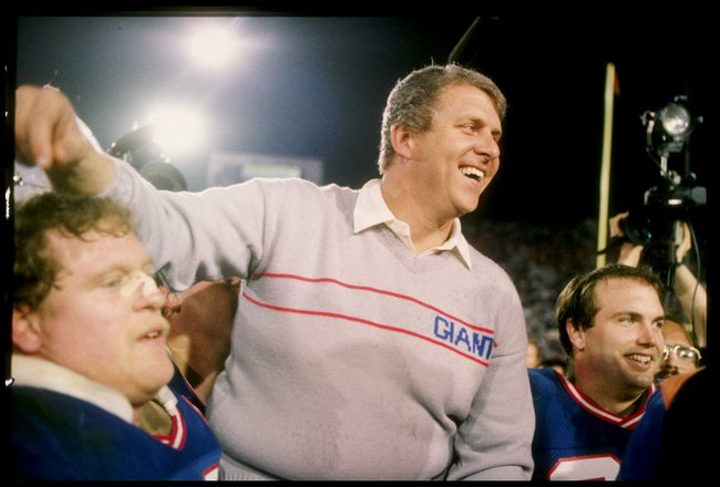 25 Jan 1987: Head coach Bill Parcells of the New York Giants celebrates after Super Bowl XXI against the Denver Broncos at the Rose Bowl in Pasadena, California. The Giants won the game 39-20.
