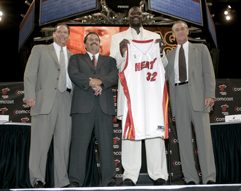 Pfund (left), with Stan Van Gundy, Shaquille O'Neal and Pat Riley