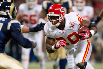 ST. LOUIS, MO - DECEMBER 19: Thomas Jones #20 of the Kansas City Chiefs rushes against the St. Louis Rams at the Edward Jones Dome on December 19, 2010 in St. Louis, Missouri.  The Chiefs beat the Rams 27-13.  (Photo by Dilip Vishwanat/Getty Images)
