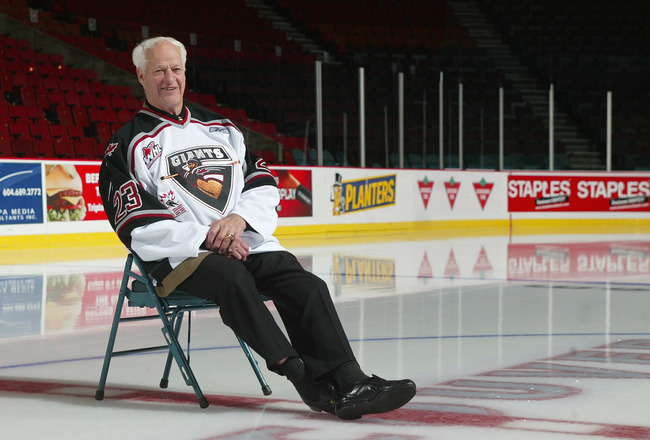 VANCOUVER, CANADA - OCTOBER 28:  Partial Owner of the Vancouver Giants Gordie Howe, aka 'Mr. Hockey, poses for a portrait during his visit for his annual inspection of the Vancouver Giants prior to their WHL game against the Everett Silvertips on October