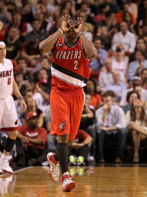 MIAMI, FL - MARCH 08:  Wesley Matthews #2 of the Portland Trail Blazers reacts after hitting a late 3 pointer during a game against the Miami Heat at American Airlines Arena on March 8, 2011 in Miami, Florida. NOTE TO USER: User expressly acknowledges and