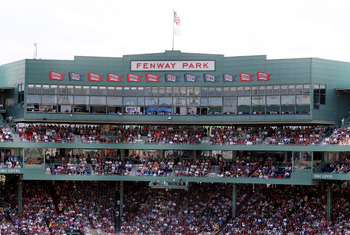 BOSTON - AUGUST 01:  A view of the press box during the game between the Boston Red Sox and the Detroit Tigers on August 1, 2010 at Fenway Park in Boston, Massachusetts.  (Photo by Elsa/Getty Images)
