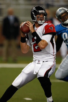DETROIT, MI - AUGUST 15: Quarterback Matt Ryan #2 of the Atlanta Falcons drops back to pass the football against the Detroit Lions at Ford Field on August 15, 2009 in Detroit, Michigan. (Photo by Scott Boehm/Getty Images)