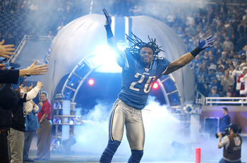 DETROIT - DECEMBER 20: Louis Delmas #26 the Detroit Lions takes the field during player introductions prior to playing the Arizona Cardinals on December 20, 2009 at Ford Field in Detroit, Michigan. Arizona won the game 31-24.  (Photo by Gregory Shamus/Get