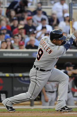 MINNEAPOLIS, MN - JUNE 28: Carlos Guillen #9 of the Detroit Tigers singles in the first inning against the Minnesota Twins during their game on June 28, 2010 at Target Field in Minneapolis, Minnesota. Tigers won 7-5. (Photo by Hannah Foslien /Getty Images