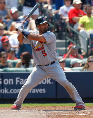 ATLANTA, GA - MAY 01:  Albert Pujols #5 of the St. Louis Cardinals against the Atlanta Braves at Turner Field on May 1, 2011 in Atlanta, Georgia.  (Photo by Kevin C. Cox/Getty Images)