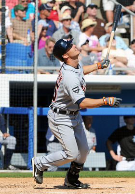DUNEDIN, FL - FEBRUARY 26:  Outfielder Ryan Raburn #25 of the Detroit Tigers bats against the Toronto Blue Jays February 26, 2011 at Florida Auto Exchange Stadium in Dunedin, Florida.  (Photo by Al Messerschmidt/Getty Images)
