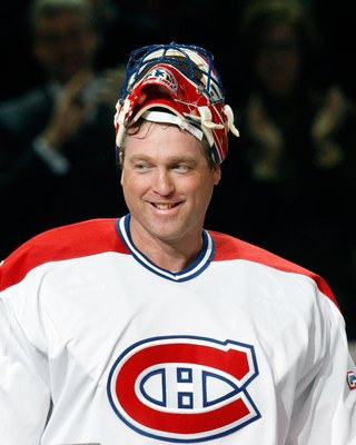MONTREAL- DECEMBER 4:  Former Montreal Canadien Patrick Roy is introduced during the Centennial Celebration ceremonies prior to the NHL game between the Montreal Canadiens and Boston Bruins on December 4, 2009 at the Bell Centre in Montreal, Quebec, Canad