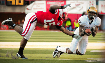LINCOLN, NE - NOVEMBER 26: Alfonzo Dennard #15 of the Nebraska Cornhuskers attempts to break up a pass intended for Toney Clemons #17 of the Colorado Buffaloes during their game at Memorial Stadium on November 26, 2010 in Lincoln, Nebraska. Nebraska defea