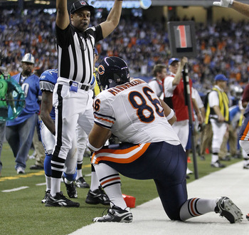 DETROIT - DECEMBER 05:  Brandon Manumaleuna #86 of the Chicago Bears celebrates a fourth quarter touchdown during the game against the Detroit Lions at Ford Field on December 5, 2010 in Detroit, Michigan. The Bears defeated the Lions 24-20.  (Photo by Leo
