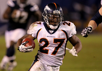 SAN DIEGO - NOVEMBER 22: Running back Knowshon Moreno #27 of the Denver Broncos carries the ball against the San Diego Chargers at Qualcomm Stadium on November 22, 2010 in San Diego, California. The Chargers won 35-14.   (Photo by Stephen Dunn/Getty Image