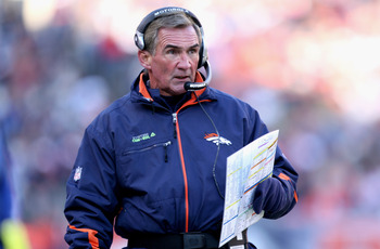 DENVER - DECEMBER 21:  Head coach Mike Shanahan of the Denver Broncos leads his team against the Buffalo Bills at Invesco Field at Mile High on December 21, 2008 in Denver, Colorado. The Bills defeated the Broncos 30-23.  (Photo by Doug Pensinger/Getty Im