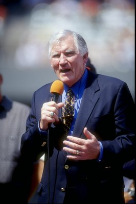 6 Sep 1998:  Former player and coach Forrest Gregg makes a speech during a game between the Cincinnati Bengals and the Tennessee Oilers at Cinergy Field in Cincinnati, Ohio. The Oilers defeated the Bengals 23-14. Mandatory Credit: Mark Lyons  /Allsport