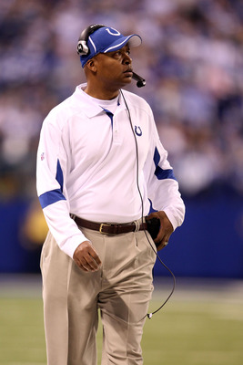 INDIANAPOLIS, IN - JANUARY 08:  Head coach Jim Caldwell of the Indianapolis Colts coaches against the New York Jets during their 2011 AFC wild card playoff game at Lucas Oil Stadium on January 8, 2011 in Indianapolis, Indiana. The Jets won 17-16.  (Photo