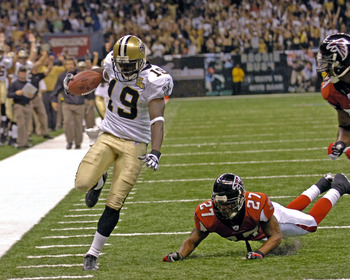New Orleans Saints wide receiver Devery Henderson scores a first quarter touchdown  against the Atlanta Falcons on  ESPN Monday Night Football  game September 25, 2006 in New Orleans. The Saints won 23 - 3.  (Photo by Al Messerschmidt/Getty Images)