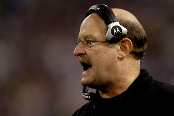 MINNEAPOLIS - NOVEMBER 21:  Head coach Brad Childress of the Minnesota Vikings on the sidelines against the Green Bay Packers at the Hubert H. Humphrey Metrodome on November 21, 2010 in Minneapolis, Minnesota.  (Photo by Matthew Stockman/Getty Images)
