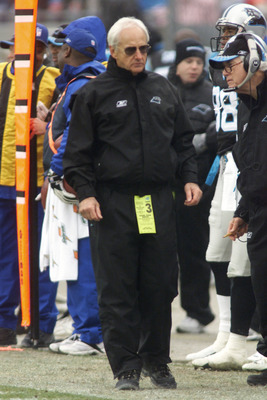06 Jan 2002: Head coach George Seifert of the Carolina Panthers paces along the sideline during the game against the New England Patriots at Ericsson Stadium in Charlotte, North Carolina. The Patriots defeated the Panthers 38-6,  resulting in a record for