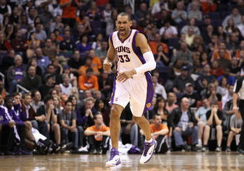 PHOENIX, AZ - FEBRUARY 13:  Grant Hill #33 of the Phoenix Suns reacts to a non foul call during the NBA game against the Sacramento Kings at US Airways Center on February 13, 2011 in Phoenix, Arizona. The Kings defeated the Suns 113-108.  NOTE TO USER: Us