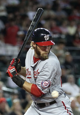 PHOENIX, AZ - JUNE 05:  Jayson Werth #28 of the Washington Nationals is hit by a pitch from the Arizona Diamondbacks during the fifth inning of the Major League Baseball game at Chase Field on June 5, 2011 in Phoenix, Arizona.  (Photo by Christian Peterse