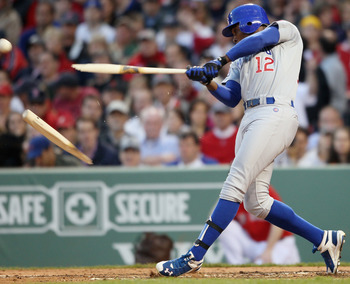 BOSTON, MA - MAY 20:  Alfonso Soriano #12 of the Chicago Cubs breaks his bat in the second inning against the Boston Red Sox on May 20, 2011 at Fenway Park in Boston, Massachusetts.on May 20, 2011 at Fenway Park in Boston, Massachusetts. The Chicago Cubs