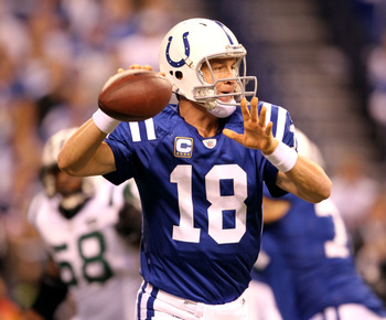 INDIANAPOLIS, IN - JANUARY 08:  Quarterback Peyton Manning #18 of the Indianapolis Colts passes the ball in the first quarter against the New York Jets during their 2011 AFC wild card playoff game at Lucas Oil Stadium on January 8, 2011 in Indianapolis, I