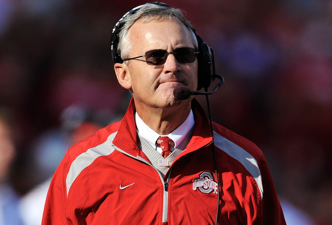 COLUMBUS, OH - OCTOBER 10:  Head coach Jim Tressel of the Ohio State Buckeyes looks up at the clock during a game against the Wisconsin Badgers at Ohio Stadium on October 10, 2009 in Columbus, Ohio.  Ohio State defeated Wisconsin 31-13.  (Photo by Jamie S