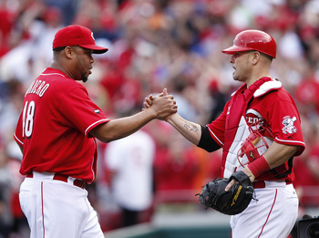 CINCINNATI, OH - MAY 14: Francisco Cordero #48 and Ramon Hernandez #55 of the Cincinnati Reds celebrate after the final out against the St. Louis Cardinals at Great American Ball Park on May 14, 2011 in Cincinnati, Ohio. The Reds defeated the Cardinals 7-