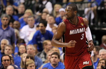 DALLAS, TX - JUNE 05:  Dwyane Wade #3 of the Miami Heat reacts against the Dallas Mavericks in Game Three of the 2011 NBA Finals at American Airlines Center on June 5, 2011 in Dallas, Texas.  NOTE TO USER: User expressly acknowledges and agrees that, by d