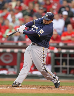 CINCINNATI - MAY 18:  Prince Fielder #28 of the Milwaukee Brewers swings at a pitch during the game against the Cincinnati Reds at Great American Ball Park on May 18, 2010 in Cincinnati, Ohio.  (Photo by Andy Lyons/Getty Images)