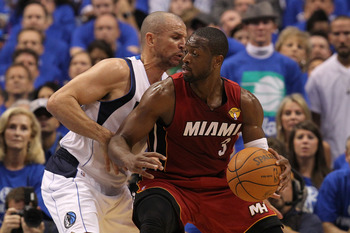 DALLAS, TX - JUNE 05:  Dwyane Wade #3 of the Miami Heat drives on Jason Kidd #2 of the Dallas Mavericks in the first quarter in Game Three of the 2011 NBA Finals at American Airlines Center on June 5, 2011 in Dallas, Texas.  NOTE TO USER: User expressly a