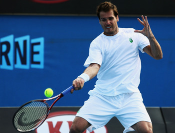 MELBOURNE, AUSTRALIA - JANUARY 19:  Tommy Haas of Germany plays a forehand in his first round match against Simon Greul of Germany during day two of the 2010 Australian Open at Melbourne Park on January 19, 2010 in Melbourne, Australia.  (Photo by Quinn R